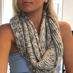 Grey and white knit infinity scarf